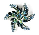 DeLizza and Elster Juliana Blue Green AB Rhinestone Spiral Brooch