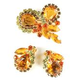 DeLizza and Elster Juliana Topaz Rhinestone Brooch and Earrings