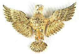 Articulated goldtone eagle pin
