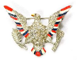 Coro rhinestone enameled eagle pin