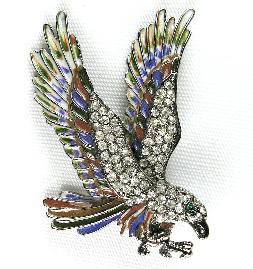 Multi-hued enamel and rhinestone eagle brooch