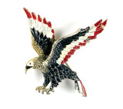 Red White and Blue Enamel Eagle Large Brooch